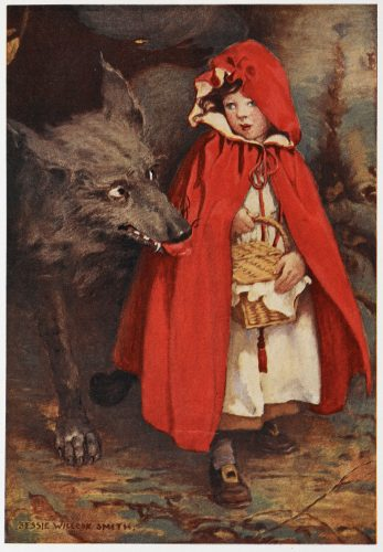He walked along Red Riding Hood for a while '. Illustration for the fairy tale 'Little Red Riding Hood ', also known as 'Little Red Cap ', Illustrated by Jessie Wilcox Smith. (Photo by The British Library/Robana via Getty Images)